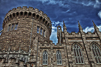 Looking up at a portion of Dublin Castle in Ireland.
