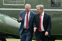 Mark Meadows, Assistant to the President and Chief of Staff and United States National Security Advisor Robert C. O'Brien walk across the South Lawn as they return to the the White House in Washington, DC after accompanying United States President Donald J. Trump and first lady Melania Trump to a Memorial Day Ceremony at Fort McHenry National Monument and Historic Shrine in Baltimore, Maryland on Monday, May 25, 2020.<br /> Credit: Chris Kleponis / Pool via CNP/AdMedia