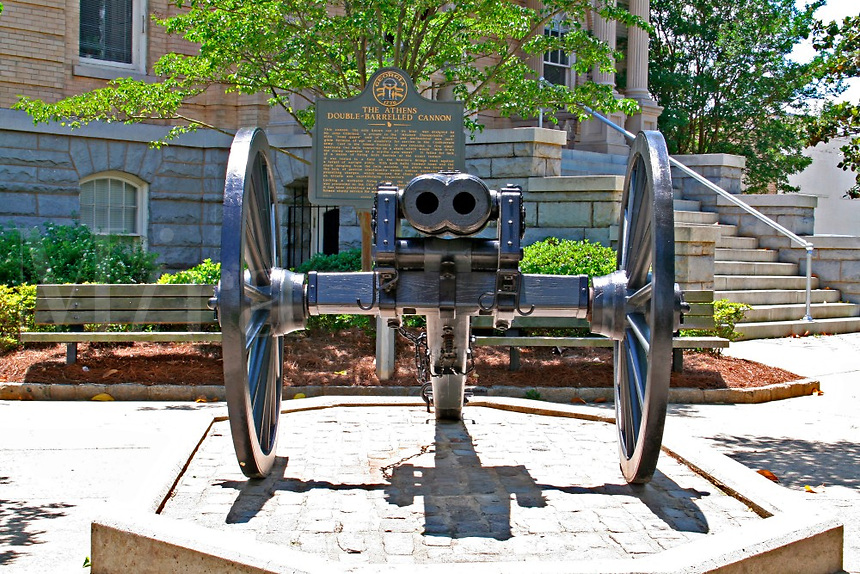 Historic double-barreled civil war cannon downtown Athens Georgia