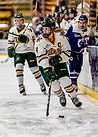 16 February 2019: University of Vermont Catamount Defender Sammy Kolowrat, a Senior from Prague, Czech Republic, in action against the Holy Cross Crusaders at Gutterson Fieldhouse in Burlington, Vermont. The Lady Cats defeated the Crusaders 4-1 to sweep their 2-game weekend series. Mandatory Credit: Ed Wolfstein Photo *** RAW (NEF) Image File Available ***