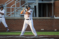 Christian Correa (8) of the Buies Creek Astros at bat against the Wilmington Blue Rocks at Jim Perry Stadium on April 29, 2017 in Buies Creek, North Carolina.  The Astros defeated the Blue Rocks 3-0.  (Brian Westerholt/Four Seam Images)
