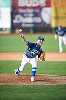 Ogden Raptors starting pitcher Kevin Malisheski (28) delivers a pitch to the plate against the Grand Junction Rockies at Lindquist Field on June 14, 2019 in Ogden, Utah. The Raptors defeated the Rockies 12-0. (Stephen Smith/Four Seam Images)