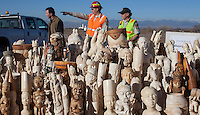 Carved ivory trinkets, part of a haul estimated by US wildlife officials to be from around 2,000 elephants, are seen at the National Wildlife Property Repository, 13 November 2013, Denver, Colorado, United States, 14 November 2013. The United States Fish and Wildlife Service is set to destroy their entire stockpile of seized ivory dating back to the 1980's by using a rock crushing machine to send a strong signal to poachers in Africa, and consumers in Asia and the United States, that the US government will not tolerate ivory trafficking. Elephant populations are in steep decline due to poaching and rampant demand, mostly from China, but also the US. The US confiscated ivory destruction follows similar symbolic events in the Gabon, Kenya and Philippines.
