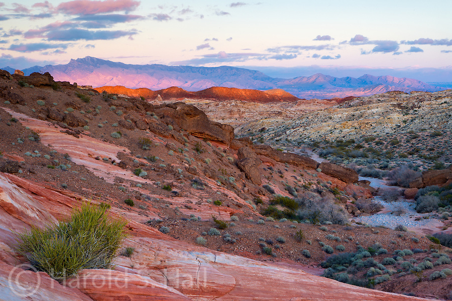 The sun sets at Valley of Fire State Park near Las Vegas, Nevada.