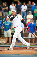 Former major leaguer Jose Canseco during a home run contest before a game between the Hagerstown Suns and Lexington Legends on May 22, 2015 at Whitaker Bank Ballpark in Lexington, Kentucky.  Lexington defeated Hagerstown 5-1.  (Mike Janes/Four Seam Images)