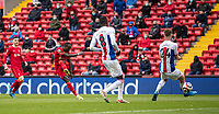 23rd May 2021; Anfield, Liverpool, England; EPL Premier League football, Liverpool versus Crystal Palace:  Liverpool's Sadio Mane  scores the second goal in minute 74 during the Premier League match between Liverpool and Crystal Palace at Anfield