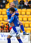 St Johnstone v Dundee United...27.08.11   SPL Week 5.Jody Morris jumps on Francisco Sandaza after he scores from the spot .Picture by Graeme Hart..Copyright Perthshire Picture Agency.Tel: 01738 623350  Mobile: 07990 594431