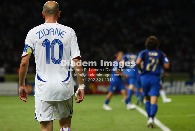 BERLIN - JULY 9:  Zinedine Zidane of France in action during the 2006 FIFA World Cup final against Italy July 9, 2006 in Berlin, Germany.  Editorial use only.  Commercial use prohibited.  No push to mobile device usage.  (Photograph by  Jonathan Paul Larsen)