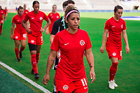 ORLANDO, FL - FEBRUARY 24: Desiree Scott #11 of the CANWNT walks into the tunnel before a game between Brazil and Canada at Exploria Stadium on February 24, 2021 in Orlando, Florida.
