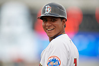 Brooklyn Cyclones Angel Manzanarez (7) during a NY-Penn League game against the Tri-City ValleyCats on August 17, 2019 at MCU Park in Brooklyn, New York.  Brooklyn defeated Tri-City 2-1.  (Mike Janes/Four Seam Images)