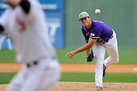 Starting pitcher Bryan Sammons (32) of Western Carolina delivers a pitch against Mercer in Game 1 of the SoCon Tournament championship final series on Sunday, May 29, 2016, at Fluor Field at the West End in Greenville, South Carolina. Western won, 4-2. (Tom Priddy/Four Seam Images)