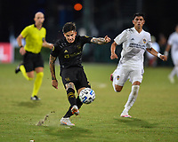 LAKE BUENA VISTA, FL - JULY 18: Brian Rodríguez #17 of LAFC takes a shot during a game between Los Angeles Galaxy and Los Angeles FC at ESPN Wide World of Sports on July 18, 2020 in Lake Buena Vista, Florida.