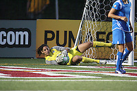 Breakers goalkeeper Alli Lipsher dives to make a save. The Boston Breakers defeated the Chicago Red Stars 1-0, at Harvard Stadium, in Cambridge, MA, Wednesday, July 15, 2009.