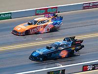 Jul 28, 2019; Sonoma, CA, USA; NHRA funny car driver Bob Tasca III (near) alongside Jim Campbell during the Sonoma Nationals at Sonoma Raceway. Mandatory Credit: Mark J. Rebilas-USA TODAY Sports