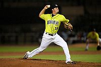Pitcher Allan Winans (28) of the Columbia Fireflies delivers a pitch in a game against the Hickory Crawdads on Tuesday, August 27, 2019, at Segra Park in Columbia, South Carolina. Columbia won, 3-2. (Tom Priddy/Four Seam Images)