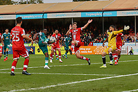 Isaac Olaofe of Sutton United has a shot on goal during Crawley Town vs Sutton United, Sky Bet EFL League 2 Football at The People's Pension Stadium on 16th October 2021