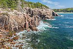 Ocean and cliffs near the Shore Path in Acadia National Park, Maine, USA