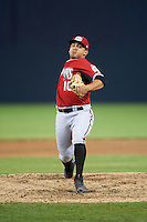 Carolina Mudcats relief pitcher Carlos Salazar (10) during a game against the Frederick Keys on June 4, 2016 at Nymeo Field at Harry Grove Stadium in Frederick, Maryland.  Frederick defeated Carolina 5-4 in eleven innings.  (Mike Janes/Four Seam Images)