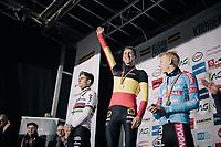Toon Aerts (BEL/Telenet Fidea Lions) is the surprising new Belgian national CX champion ahead of Wout Van Aert (BEL/Cibel-Cebon) & Michael Vanthourenhout (BEL/Marlux-Bingoal)<br /> <br /> Elite Men's Race<br /> Belgian National CX Championschips<br /> Kruibeke 2019