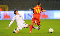 Jose Torres (l) of team USA and Dries Mertens of team Belgium during the friendly match Belgium against USA at King Baudoin stadium in Brussel, Belgium on September 06th, 2011.