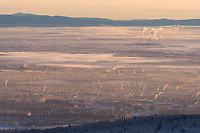 Ice fog hangs over the interior city of Fairbanks, Alaska on a chilly minus 40 degree fahrenheit day in January.