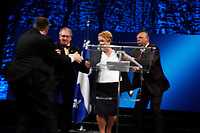 September 4, 2012 - Montreal (Qc) CANADA -  SQ Bodyguards grab Pauline Marois offstage after a man  shot 2 person and started a fire backstage at the Metropolic where the event was beeng held.<br /> <br /> Parti Quebecois (PQ) leader Pauline Marois win the provincial election and become the first woman elected as Quebec Premier.