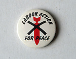 Pin button badges. Labour Action for Peace pin badge 1980s