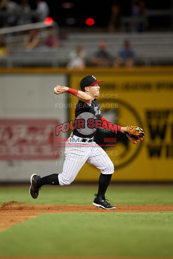 Birmingham Barons shortstop Danny Mendick (2) throws to first base to try to complete a double play during a game against the Tennessee Smokies on August 16, 2018 at Regions FIeld in Birmingham, Alabama.  Tennessee defeated Birmingham 11-1.  (Mike Janes/Four Seam Images)