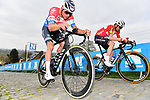 Dutch Champion Mathieu van der Poel (NED) Alpecin Fenix and Danish Champion Kasper Asgreen (DEN) Elegant-Quick Step climb the Paterberg during the 2021 Tour of Flanders running 254.3km from Antwerp to Oudenaarde, Belgium. 4th April 221.  <br /> Picture: Serge Waldbillig | Cyclefile<br /> <br /> All photos usage must carry mandatory copyright credit (© Cyclefile | Serge Waldbillig)