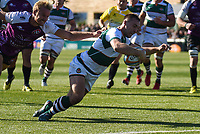 Craig Willis of Ealing Trailfinders scores their third try during the Greene King IPA Championship match between Ealing Trailfinders and Cornish Pirates at Castle Bar , West Ealing , England  on 29 September 2018. Photo by Match action Paul Paxford / PRiME Media Images.