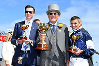 Melbourne Cup winner Rekindling (GB) presentations.   Owner Lloyd Williams, Jockey Corey Brown and Trainer Joseph O'Brien<br /> 2017 Melbourne Cup horse racing, <br /> Flemington Racecourse, Melbourne, Australia. <br /> Tuesday 7 November 2017. <br /> © Sport the library / Jeff Crow