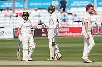 Steven Mullaney (L) and Lyndon James enjoy a useful partnership for Nottinghamshire during Essex CCC vs Nottinghamshire CCC, LV Insurance County Championship Group 1 Cricket at The Cloudfm County Ground on 3rd June 2021
