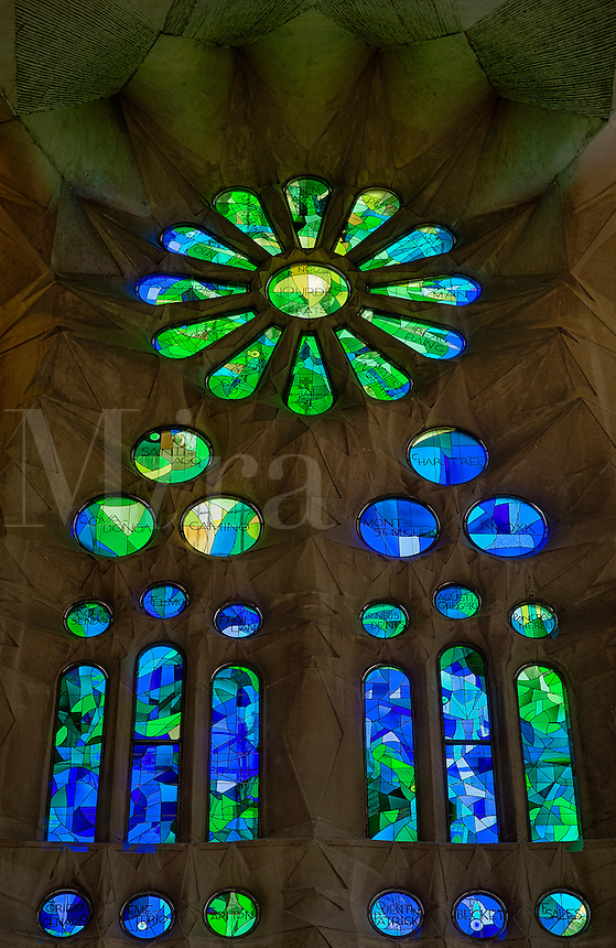 Stained glass window, Basilica Sagrada Família, Barcelona, Spain