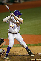 LSU Tigers infielder Danny Zardon (27) swings the bat during a Southeastern Conference baseball game against the Texas A&M Aggies on April 23, 2015 at Alex Box Stadium in Baton Rouge, Louisiana. LSU defeated Texas A&M 4-3. (Andrew Woolley/Four Seam Images)