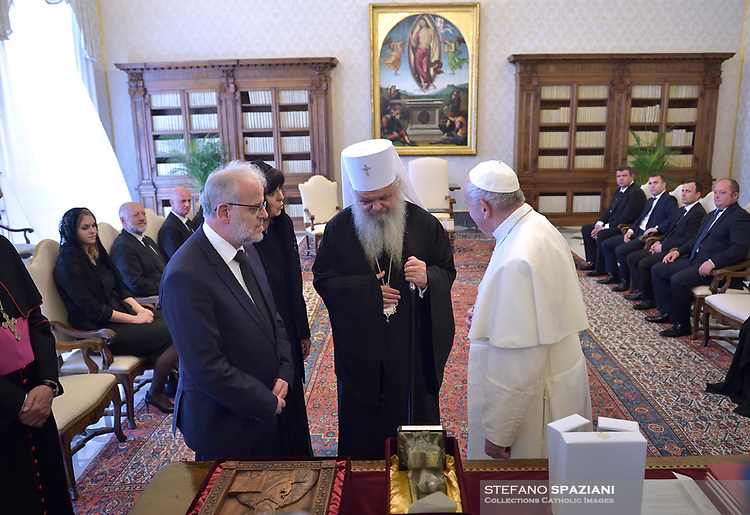 At center is Christian Orthodox Archbishop of Skopje Stefan.Pope Francis walks with Talat Xhaferi, president of North Macedonia's parliament, second left, on the occasion of their private audience at the Vatican, Friday, May 24, 2019.