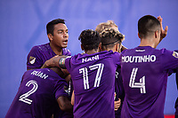 LAKE BUENA VISTA, FL - JULY 14: Orlando City SC celebrate a goal during a game between Orlando City SC and New York City FC at Wide World of Sports on July 14, 2020 in Lake Buena Vista, Florida.