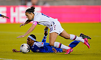 HOUSTON, TX - JANUARY 28: Carli Loyd #10 of the United States takes a tumble during a game between Haiti and USWNT at BBVA Stadium on January 28, 2020 in Houston, Texas.