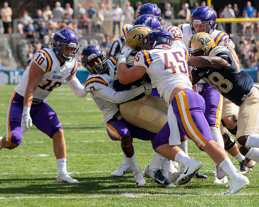 The Albany defense, led by linebacker Levi Metheny (45) gang tackle a Pitt ball carrier.The Pitt Panthers football team defeated the Albany Great Danes 33-7 on September 01, 2018 at Heinz Field, Pittsburgh, Pennsylvania.