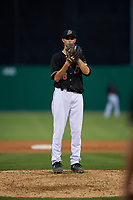 Batavia Muckdogs relief pitcher Easton Lucas (28) during a NY-Penn League game against the State College Spikes on July 2, 2019 at Dwyer Stadium in Batavia, New York.  Batavia defeated State College 1-0.  (Mike Janes/Four Seam Images)