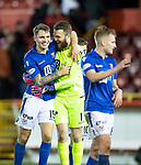Aberdeen v St Johnstone…..05.02.20   Pittodrie   SPFL<br />Happy Jason Kerr and Zander Clark at full time<br />Picture by Graeme Hart.<br />Copyright Perthshire Picture Agency<br />Tel: 01738 623350  Mobile: 07990 594431