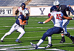 October 26th 2019: Zane Dudek of Yale [33] gained 97 yards on the day along with three TD's as the Yale Bulldogs up their record to 5-1 defeating the Quakers of Penn 46-41.  The Ivy League match up was at the Yale bowl in New Haven, Connecticut.  Dan Heary/ESW/CSM