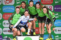 Picture by SWpix.com 17/06/2018 - Cycling - The 2018 OVO Energy Women's Tour - Stage 5: Wales - Dolgellau to Colwyn Bay - Team WaowDeals on the podium