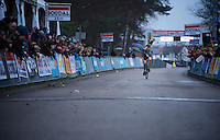 Toon Aerts (BEL/Telenet-Fidea) checking if his first important pro victory is secured before celebrating<br /> <br /> Soudal Classic Leuven 2016