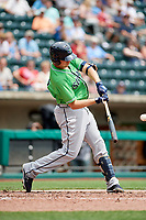 Gwinnett Stripers third baseman Austin Riley (27) swings at a pitch during a game against the Columbus Clippers on May 17, 2018 at Huntington Park in Columbus, Ohio.  Gwinnett defeated Columbus 6-0.  (Mike Janes/Four Seam Images)