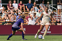 NEWTON, MA - SEPTEMBER 12: Linda Boama #13 of Boston College brings the ball forward during a game between Holy Cross and Boston College at Newton Campus Soccer Field on September 12, 2021 in Newton, Massachusetts.
