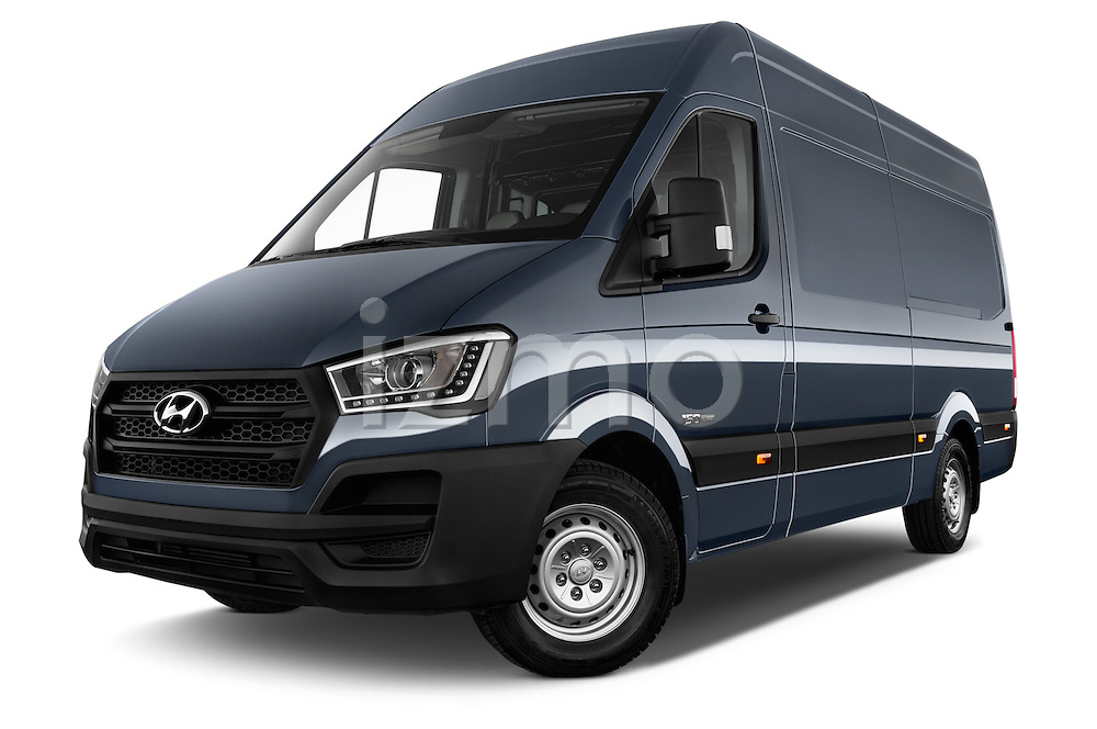 Stock pictures of low aggressive front three quarter view of 2015 Hyundai H350 Travel Plus Pack 4 Door Cargo Van 2WD Low Aggressive
