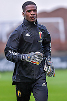 goalkeeper Matthieu Epolo (12) of Belgium pictured before a soccer game between the national teams Under17 Youth teams of Belgium and Luxemburg in the Qualifying round in group 3 on wednesday 6 th of October 2020  in Tubize , Belgium . PHOTO SPORTPIX | STIJN AUDOOREN