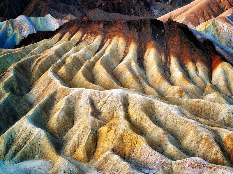 Eroded cliffs from Zabriskie Point. Death Valley National Park, California