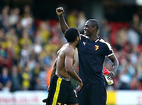 Odion Ighalo of Watford acknowledges the fans   during the Barclays Premier League match Watford and Swansea   played at Vicarage Road Stadium , Watford