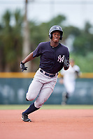 GCL Yankees East right fielder Jesus Severino (33) runs the bases during the first game of a doubleheader against the GCL Pirates on July 31, 2018 at Pirate City Complex in Bradenton, Florida.  GCL Yankees East defeated GCL Pirates 2-0.  (Mike Janes/Four Seam Images)